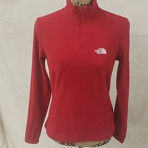 North Face- 1/4 zip red pullover- Size Small